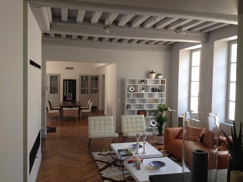 Aménagement Intérieur Salon, Parquet à La Française, Poutres Apparentes